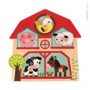 JANOD Drewniane puzzle muzyczne Mieszkańcy farmy - zwierzęta wiejskie, J07079