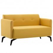 vidaXL 2-местен диван, тапицерия от плат, 115x60x67 см, жълт