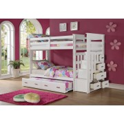 Acme 37370 White finish wood twin over twin bunk bed set storage drawer steps trundle