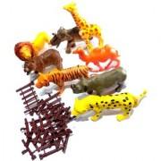 Nawani Wild Jungle Animal Toys Figure Playing Set for Kids (Pack of 8) Size- 14/7 cm