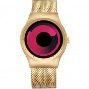Skone 1080 Redondo Rojo Marcado Moda Diseño De Remolino La Personalidad Del Deporte De Los Hombres Reloj De Cuarzo Con Banda De Acero Inoxidable (Dorado)