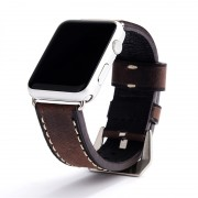 Vintage Style Genuine Leather Watch Strap for Apple Watch Series 5 4 40mm, Series 3 / 2 / 1 38mm - Coffee