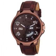 Mark Regal Round Brown Dail Brown Leather Strap Analog Watch For Men-MR-DD(01D)