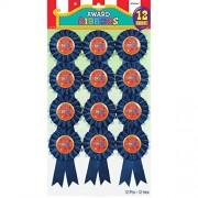 amscan Super Fun Winner Blue Rosette Jumbo Party Award Ribbon Favors, Blue, 5 3/4 by