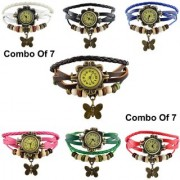 Original Stylish Women Leather Vintage BRACELET WATCH Latest Fashion WOMEN WATCHES - 7 Colors