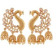 Pourni exclusive Peacock Designer reverse AD Pearl Jhumka Earring - KRER52