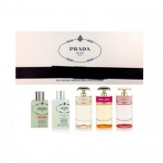 Prada women miniature gift set 8 ml infusion d'iris edp fleur d'oranger + 8 ml infusion d'iris edp + 7 ml prada candy edp + 7 ml prada candy l'eau edt + 7 ml prada candy florale edt