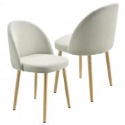 [en.casa]® Étkezőszék szett párnázott textil/bársonybevonatos szék 2 darabos szett 76 x 44 cm bézs