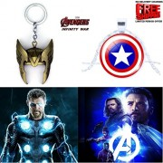 2 Pc AVENGER SET - THOR HELMET / CROWN GOLD COLOUR IMPORTED METAL KEYCHAIN & CAPTAIN AMERICA SHIELD 3D GLASS DOME METAL PENDANT WITH CHAIN ❤ LATEST ARRIVALS - RINGS, KEYCHAINS, BRACELET & T SHIRT - CAPTAIN AMERICA - AVENGERS - MARVEL - SHIELD - IRONMAN -