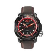 【65%OFF】カーフレザーベルト デイト ダイバーズウォッチ フェイス:ブラック・レッド ベルト:ブラック ファッション > 腕時計~~メンズ 腕時計