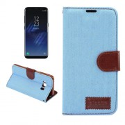 Dibase For Samsung Galaxy S8 Plus Denim Texture Horizontal Flip Leather Case with Holder & Card Slots(Baby Blue)