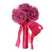 HITSAN INCORPORATION Sweet Wedding Bouquet Bridal Flower Artificial Silk Rose Bridal Flowers for Bride Bridesmaid Wedding Lace Rhinestone Decor Color 5