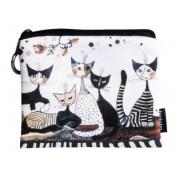 FRI.19284 Mini pénztárca textil, 12x1,5x10cm, Rosina Wachtmeister: Cats Sepia