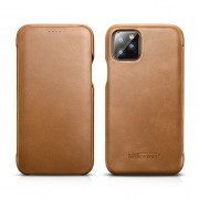 ICARER Genuine Leather Curved Screen Folio Flip Phone Case for iPhone 11 Pro 5.8-inch - Khaki