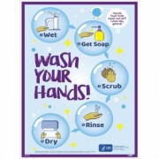 National Marker Pandemic Signage, Sign Message WASH YOUR HANDS. STEPS 1 2 3 4 5, Product Type Poster, Length 24, Model PST152