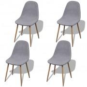 vidaXL 4 светлосиви стола без подлакътници и железни крака