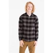 C&A Overhemd-biokatoen-geruit, Grijs, Maat: 134/140
