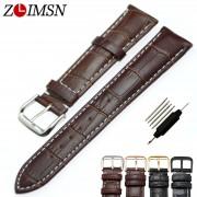 ZLIMSN watchbands genuine leather for Tissot Black Watchbands Metal Buckle Bracelets Belt for Tissot 8mm 20mm 22mm watch band