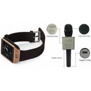 Mirza DZ09 Smart Watch and Q9 Microphone Karrokke Bluetooth Speaker for LG OPTIMUS G (DZ09 Smart Watch With 4G Sim Card Memory Card| Q9 Microphone Karrokke Bluetooth Speaker)