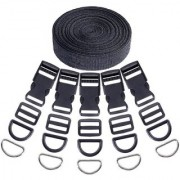 DIY Crafts 41Pcs 5/4 Inch DIY Making Bag Kit Including Flat Side Release Buckles and Tri-Glide Slides and D Rings with 1 Roll 5 Yards Nylon Webbing Straps for DIY Making Luggage Strap Pet Collar