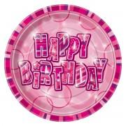 Farfurii Happy Birthday Roz 21 cm