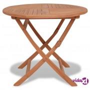 vidaXL Sklopivi vrtni blagovaonski stol od tikovine okrugli 85 x 76 cm