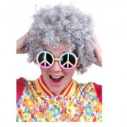 Pruik krullen hippy carnaval grijs