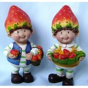 Wonderland 3.5 inches Set of 2 Bonsai Decoration Mini Fruit Boys with Strawberry(terrarium home garden decor gifting)
