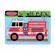 Melissa Doug Puzzle de lemn cu sunete Masina de Pompieri