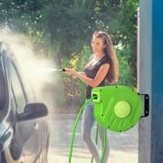 DURHAND Carrete para Mangueira Suporte Mural Portamangueira 10m Roll-up Automático com Pistola de Pulverização Base de Parede Conector de Mangueira para Jardím Terraço