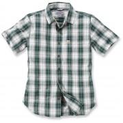 Carhartt Slim Fit Plaid Camisa de manga corta Verde/Blanco S