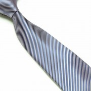 """Blue/Silver Thin Striped Microfibre Tie"""