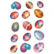 Merkloos 90x Gekleurde paaseieren stickers met glitters