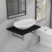 vidaXL Комплект мебели за баня от две части, керамика, черен