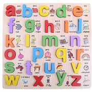 6th Dimensions Wooden Alphabet English Letters Jigsaw Puzzle Kids Educational (Upper Case) Learning Board for Kids