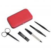 Merkloos 5-delige manicure set in luxe rode houder