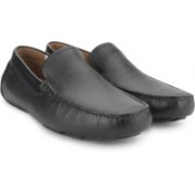 Clarks Davont Drive Blk Tumbled Lea Loafers For Men(Black)