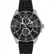GUESS Black Silicone Round Dial Quartz Watch For Men (W0798G1)