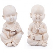 Set of 2 : Wonderland Buddha / Monk / statue with book & beads for home garden living room balcony dcor decoration gift