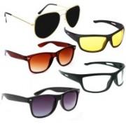 Elligator Aviator, Wayfarer, Sports Sunglasses(Black, Yellow, Brown, Clear)
