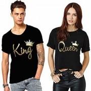 We2 Cotton Couple T Shirt Dress Combo King Queen