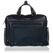 Piquadro Cartella Porta Pc 15 e iPad con Organizzazione Interna - CA1585LK in Pelle e Tessuto Blu