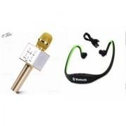 Zemini Q7 Microphone and BS19C Bluetooth Headset for PANASONIC ELUGA L 4G(Q7 Mic and Karoke with bluetooth speaker | BS19C Bluetooth Headset With Mic)