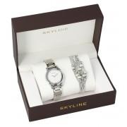 SKYLINE dámská dárková sada stříbrné hodinky s náramkem 2950-4
