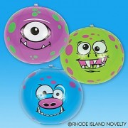 12 Mini MONSTER Beach BALL Inflates HALLOWEEN - 7 FUNNY FACE Creatures /INFLATABLE Party Favors/POOL TOYS Decorations