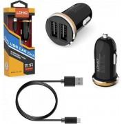 LDNIO C22 Wit 2 USB Port Autolader 2.1A met 1 Meter Micro USB Kabel geschikt voor o.a CAT S31 S41