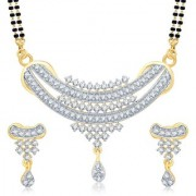 Sukkhi Angelic Gold Rhodium Plated Cubic Zirconia Studded Mangalsutra Set