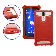 Samsung Galaxy S Plus I9001 Coque arrière façon cuir rouge contours en silicone gel anti-chocs by PH26®