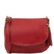 TUSCANY LEATHER Sac Bandoulière Cuir Besace Femme Rouge - Tuscany Leather -