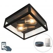 QAZQA Smart buitenplafondlamp zwart incl. 2 ST64 Wifi - Rotterdam